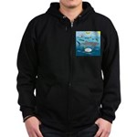 Whale Shark Thoughts Zip Hoodie (dark)