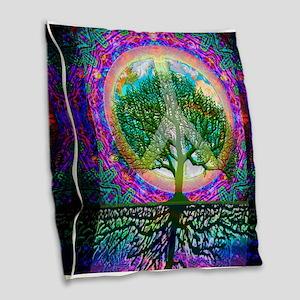 Tree of Life World Peace Burlap Throw Pillow