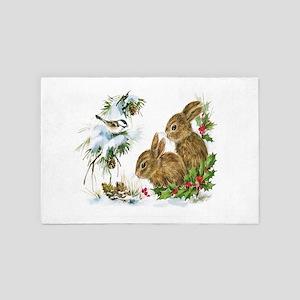 Christmas-Bunnies-Vintage- 4' x 6' Rug