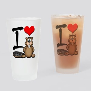 Funny I Love Beavers Drinking Glass