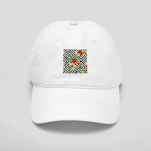 Tropical Flowers Black & White Geometric Patte Cap