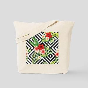 Tropical Flowers Black & White Geometric Tote Bag