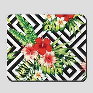 Tropical Flowers Black & White Geometric Mousepad