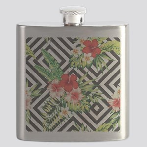 Tropical Flowers Black & White Geometric Pat Flask