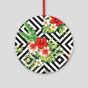 Tropical Flowers Black & White Geom Round Ornament