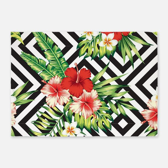 Tropical Flowers Black & White Geom 5'x7'Area Rug