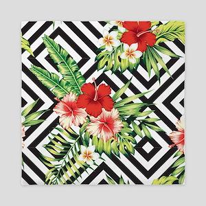Tropical Flowers Black & White Geometr Queen Duvet
