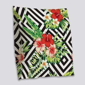 Tropical Flowers Black & White Burlap Throw Pillow
