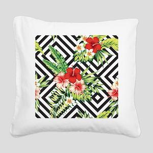 Tropical Flowers Black & Whit Square Canvas Pillow