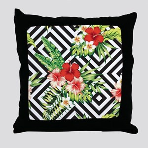 Tropical Flowers Black & White Geomet Throw Pillow