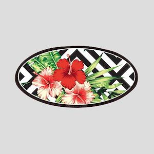 Tropical Flowers Black & White Geometric Pat Patch