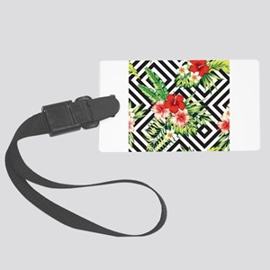 Tropical Flowers Black & White G Large Luggage Tag