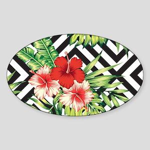 Tropical Flowers Black & White Geometric P Sticker