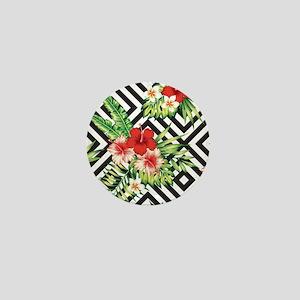 Tropical Flowers Black & White Geometr Mini Button