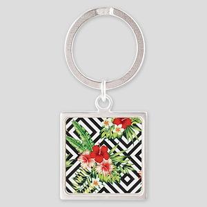 Tropical Flowers Black & White Geometric Keychains