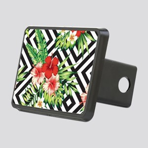 Tropical Flowers Black & W Rectangular Hitch Cover