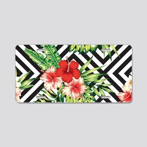 Tropical Flowers Black & Wh Aluminum License Plate