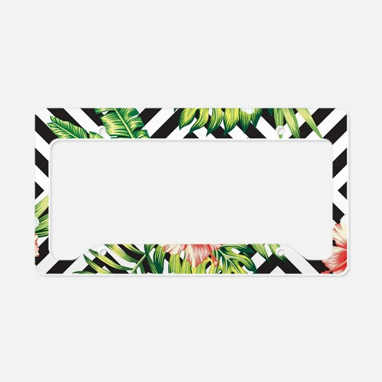 Tropical Flowers Black & Whit License Plate Holder