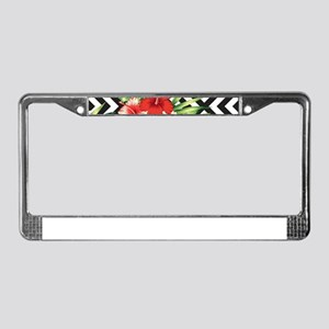 Tropical Flowers Black & White License Plate Frame