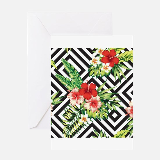 Tropical Flowers Black & White Geom Greeting Cards