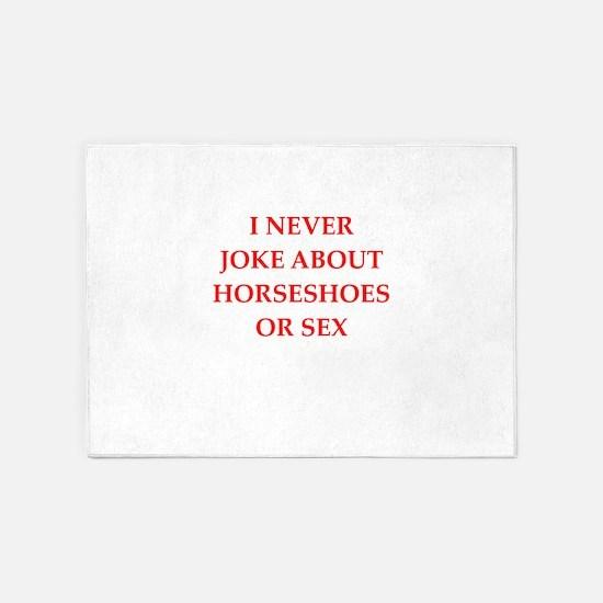 horseshoes joke 5'x7'Area Rug