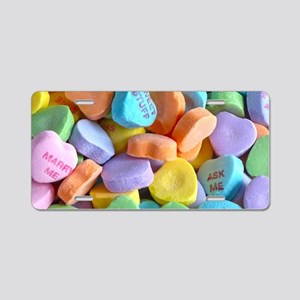 Colorful Candy Hearts Aluminum License Plate