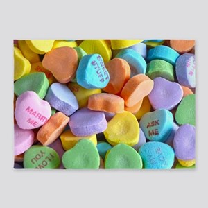 Colorful Candy Hearts 5'x7'Area Rug