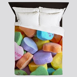 Colorful Candy Hearts Queen Duvet