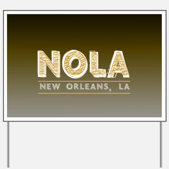 NOLA New Orleans Black and Gold Shaded Yard Sign