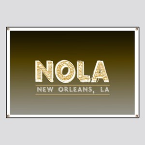 NOLA New Orleans Black and Gold Shaded Banner