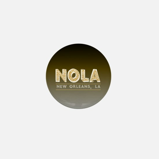 NOLA New Orleans Black and Gold Shaded Mini Button