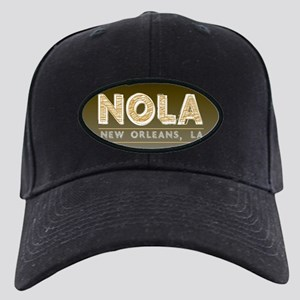 NOLA New Orleans Black and Gold Shaded Black Cap