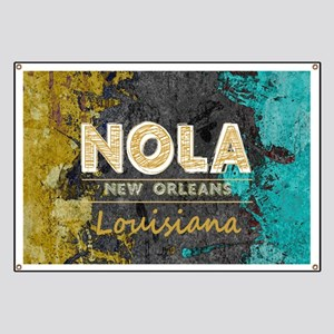 NOLA New Orleans Black Gold Turquoise Grung Banner