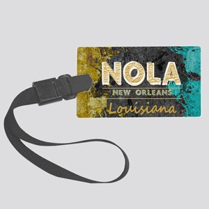 NOLA New Orleans Black Gold Turq Large Luggage Tag