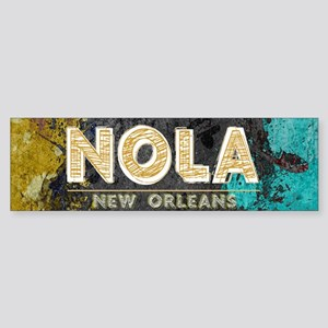 NOLA New Orleans Black Gold Turquoi Bumper Sticker