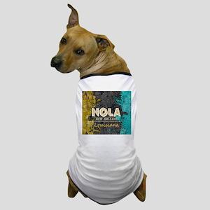 NOLA New Orleans Black Gold Turquoise Dog T-Shirt
