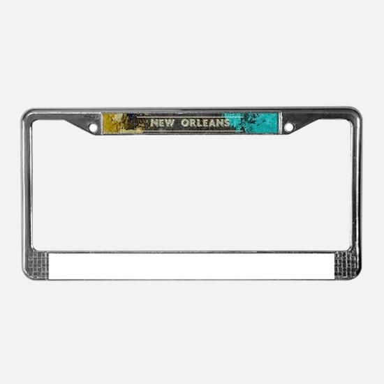 NOLA New Orleans Black Gold Tu License Plate Frame