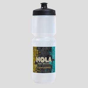 NOLA New Orleans Black Gold Turquois Sports Bottle