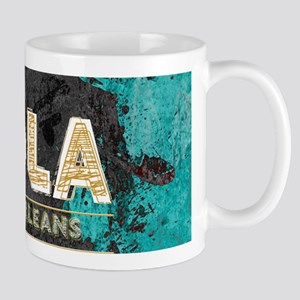 NOLA New Orleans Black Gold Turquoise Grunge Mugs