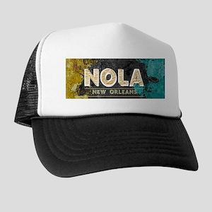 NOLA New Orleans Black Gold Turquoise Trucker Hat
