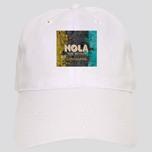 NOLA New Orleans Black Gold Turquoise Grunge Cap