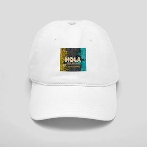 NOLA New Orleans Black Gold Turquoise Grunge Cap