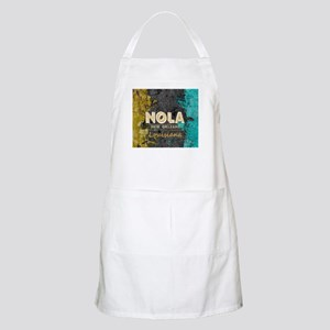 NOLA New Orleans Black Gold Turquoise Grunge Apron