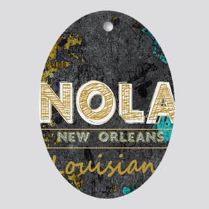 NOLA New Orleans Black Gold Turquois Oval Ornament