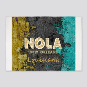 NOLA New Orleans Black Gold Turquoi 5'x7'Area Rug