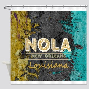NOLA New Orleans Black Gold Turquoi Shower Curtain