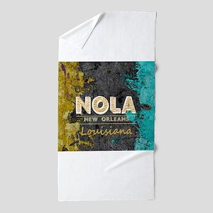 NOLA New Orleans Black Gold Turquoise Beach Towel