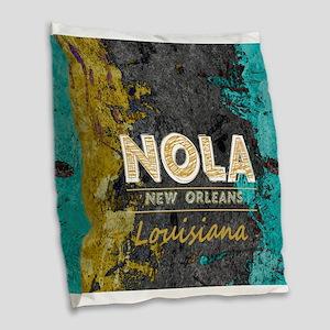 NOLA New Orleans Black Gold Tu Burlap Throw Pillow