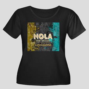 NOLA New Orleans Black Gold Turq Plus Size T-Shirt