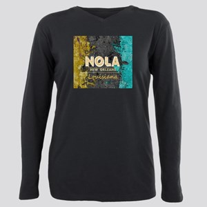 NOLA New Orleans Black G Plus Size Long Sleeve Tee